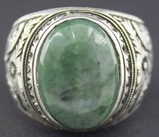 Sterling silver men's ring handmade, emerald natural gemstone, steel pen crafts