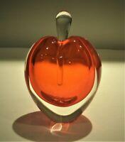 Vtg. Hand Blown Perfume Bottle Apple Red & Clear Venetian Glass