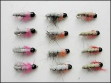 Czech Nymph Trout Flies, 12 Pack Tungsten Bead Czechs, Pink, Orange & Red, 10/12