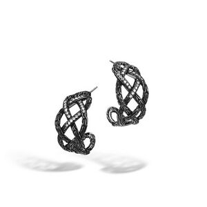 JOHN HARDY HOOP EARRINGS BLACKENED .51 CTW WOVEN SADDLE EARRINGS -NEW W/PACK
