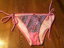 Victoria's Secret Pink Blue Sequin Embroidered Bikini Bottom Size S Small NEW!
