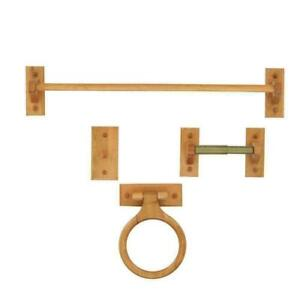 GLACIER BAY 4-Piece Bath Set with Towel Ring, Robe Hook, TP Holder, Towel Bar