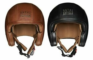 Royal Enfield Original Open Face Granado Leather Helmet Vintage - BROWN & BLACK
