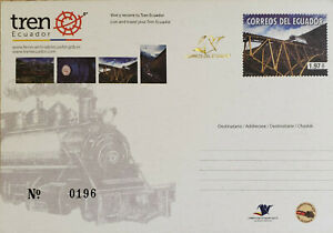 L) 2013 ECUADOR, RAILWAYS, TRAIN, TRANSPORT, BRIDGE, POSTCARD, POSTAL STATIONARY