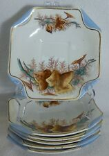 Sampson Bridgwood china #1248 Brown Leaves, Grapes Blue Edge Set of 6 Saucers