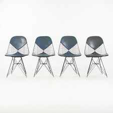 1956 Set of 4 Herman Miller Eames DKR-1 Wire Dining Chairs w/ Blue Bikini Pads