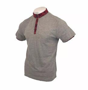 Feraud Polo Shirt Liberty Art Trim & Collar Grey Short Sleeve Sz Medium Men's