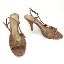 Bandolino Shoes 8 Larosa Brown Croc Leather Strappy Ring Slingback Career Heels
