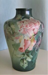 Antique Numbered French Opaline Big Vase Roses Possibly Baccarat