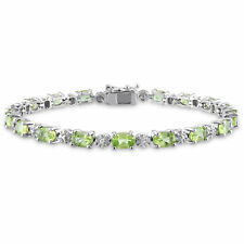 Amour Sterling Silver 8 4/5ct TGW Peridot and Diamond Accent Bracelet