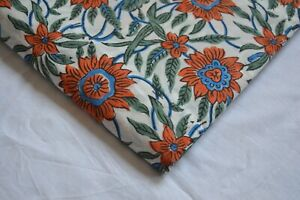 2.5 Yard Multi Fabric Print_1401 Floral Hand-Block Running 100%Cotton Fabric*