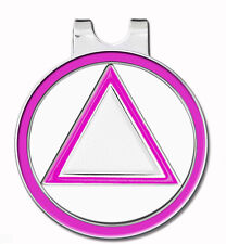 C/T Golf Ball Marker w/ Magnetic Hat Clip Pink/ WHITE & SILVER - Recovery AA