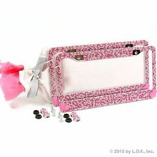 2 Pink Bling Hearts Crystal RhineStone Glitter License Plate Frame Car Gift Set