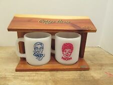 Vintage MOM DAD Glasbake Opal Mugs Wood Coffee Storage House Set Souvenir Retro