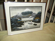 Superb Japanese Or Chinese Painting On Fabric-Signed-Man In Boat-Mountain View