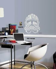 CLONE TROOPER TYPOGRAPHY WALL DECALS Star Wars BIG Stickers Room Decor