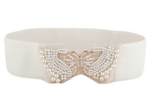 Women Fashion Pearl Bead Metal Butterfly Buckle Lace Elastic Stretchy Waist Belt