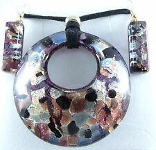 BLACK COPPER  AUTHENTIC VENETIAN MURANO GLASS NECKLACE EARRINGS JEWELRY SET 17MG
