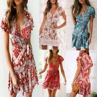 AU Women VNeck Boho Floral Ruffled Mini Dress Ladies Summer Beach Party Sundress