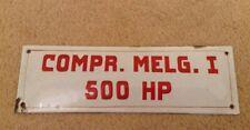 VINTAGE FRENCH ENAMEL SIGN PLAQUE METAL RED WHITE FACTORY MELG I COMPR. 500 HP