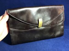 Lovely Vintage 1930s Brown Leather Clutch Bag Purse Art Deco