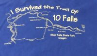 I Survived the Trail of 10 Falls Oregon Silver Falls Souvenir Tee Navy Size S
