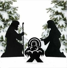 Christmas Decorations Outdoor Metal Silhouette Nativity Yard Signs & Pair Stakes