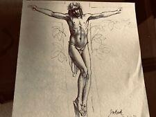 """Vintage Josef M. Kozak Original Artwork DRAWING """"IT IS DONE"""" Signed Unframed"""