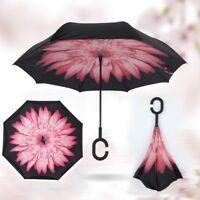 US Upside Down Inverted C-handle Umbrella Double Layer Windproof Reverse-Design