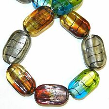 """G1431f Multi-Color Flat Rounded Rectangle 25mm- 26mm Lampwork Glass Beads 15"""""""