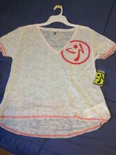 NWT Zumba Fitness Many Moons A-Glow V-Neck Tee XL White Loose Awesome SALE