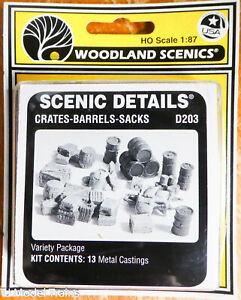 Woodland Scenics HO #203 Assorted Crates, Barrels & Sacks (White Metal Castings)