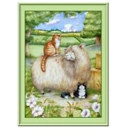 710 - Cute Cats With Sheep Fridge Refrigerator Magnet