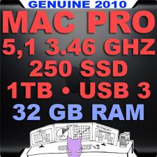 Apple Mac Pro 5,1 3.46 GHz HEX 6 core 32GB RAM •A1289• 250GB SSD + 1TB HD • USB3