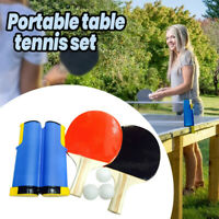 Fun Indoor Games Retractable Portable Table Tennis Net Ping-Pong Paddles Kit Set