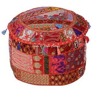 Bohemian Round Indian Pouffe Red Patchwork Embroidered Pouf Cover Cotton 16""