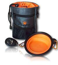Dog Treat Bag Doggie Walking Training Pouch Dog Bag + Water Bowl + Clicker