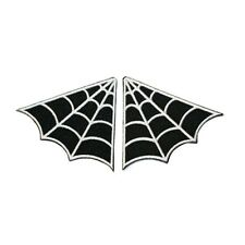 Set of 2 Spider Web Spiderweb Collar Punk Goth Patch B/W