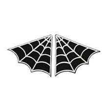 Set of 2 Spider Web Spiderweb Collar Punk Goth Patch B/W