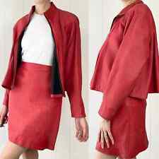 """Vintage 80s Soft Red Leather Contempo Casuals S Jacket and Firenze 26"""" Skirt"""
