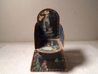 VINTAGE CHRISTMAS CARD NATIVITY CANDY CONTAINER CARBOARD CHAIR BOX RARE