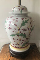 """Vintage Norman Perry Chinoiserie White Porcelain & Red Ginger Jar Lamp - 34"""""""