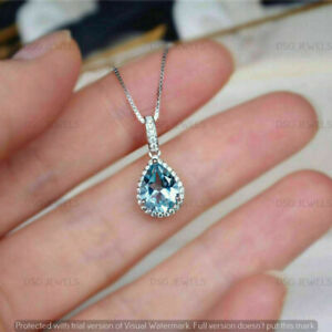 2CT Pear Cut Aquamarine & Diamond Halo Ladies Drop Pendant 14K White Gold Finish