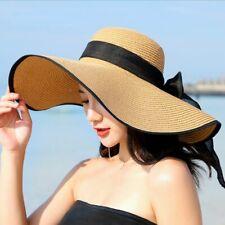 Chapeau De Paille Large Bord Eté Soleil Femme Chic Glamour Noeud Papillon Coloré