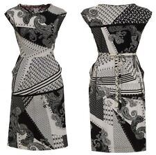 EX WHITE STUFF Monochrome Paisley Tea Dress. Sizes 8,10,12,18. Black & White