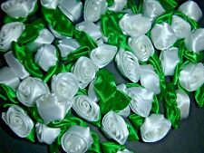 50 Satin Ribbon Roses -White with Emerald Green Leaf-Sewing Bow Craft- New