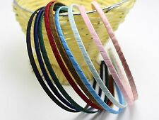 8 Mixed Color Satin Riddon Wrapped Metal Headbands 5mm Hair Bands Craft DIY
