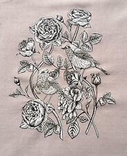 Shabby Chic Vintage Rose Flowers and Birds  Fabric Iron On Heat Transfer