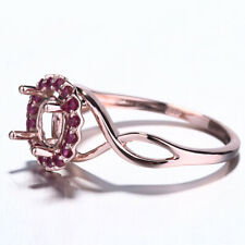 Solid 10K Rose Gold Rubies 6.5mm Round Halo Semi-mount Engagement Wedding Ring