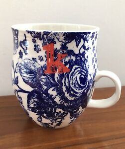 Anthropologie Homegrown Coffee Mug Letter K Monogram Initial Blue White Floral